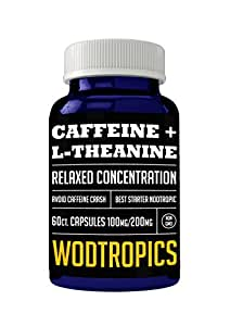 Caffeine and L-Theanine Capsules for Relaxed Focus, No Caffeine Crash and Alpha Brain Cognition - Caffeine + L-theanine Nootropic for Enhanced Mental Performance by WodTropic 100%