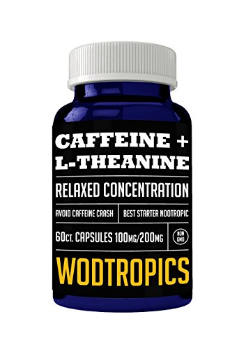 Caffeine and L-Theanine Capsules for Relaxed Focus, No Caffeine Crash and Alpha Brain Cognition - Caffeine + L-theanine Nootropic for Enhanced Mental Performance by WodTropic 100% by WODTropics