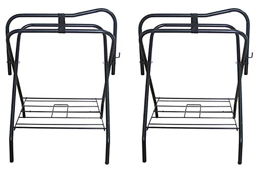 PRORIDER Lot of 2 Horse English Western Folding Metal Saddle Rack Stands Tack Black 4601 ()