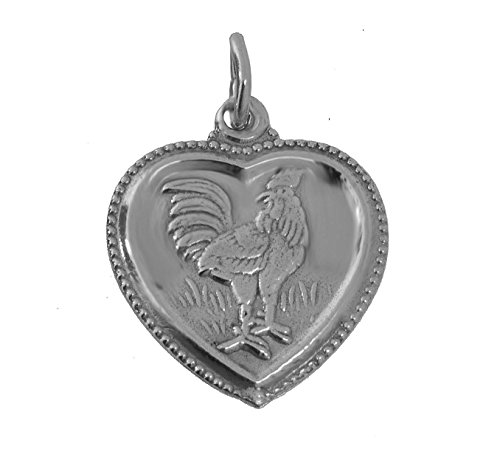 VIRGO Chinese Year of the Rooster Zodiac Sterling Silver 925 Heart Charm sign