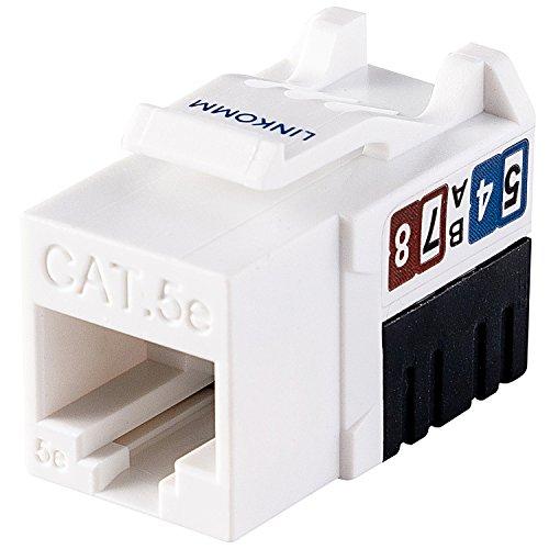 LINKOMM 50-Pack RJ45 Cat5e Slim Profile UTP Unshielded Keystone Jack with Punch Down Palm Holder (White)