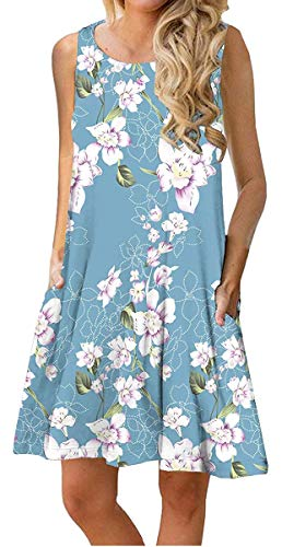 Dresses Junior Spring (ETCYY Women's Summer Casual Sleeveless Floral Printed Swing Dress Sundress with Pockets Light Blue)
