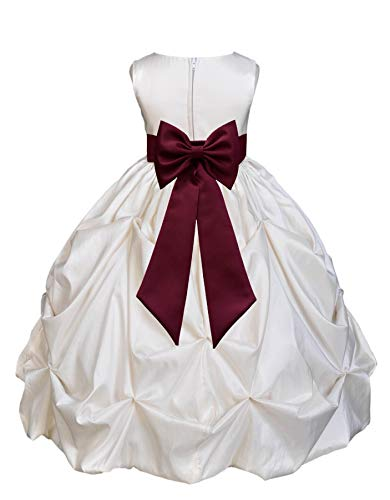 - Ivory Satin Taffeta Pick-Up Bubble Junior Flower Girl Dress Birthday 301T 6