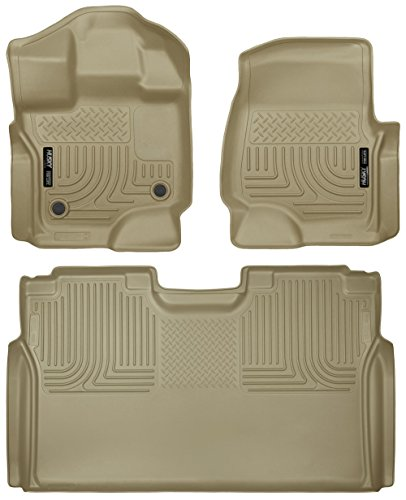 (Husky Liners Floor Liners Full Set (Includes 1st and 2nd Row) Fits Supercrew (CrewCab) Model Only (Tan) 15-17 Ford)