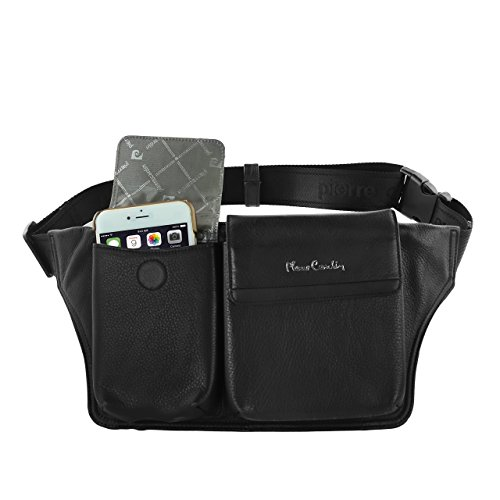 Pierre Cardin Genuine Leather Black Waist Running Belt Bum Bag Fanny Pack Pouch for Apple iPhone 6 6s / iPhone 6s Plus by Pierre Cardin (Image #1)