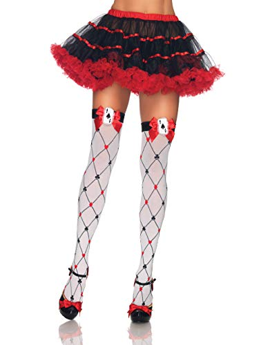 Leg Avenue Women's Woven Diamond Card Suit Thighs Highs, White/Red/Black, One Size