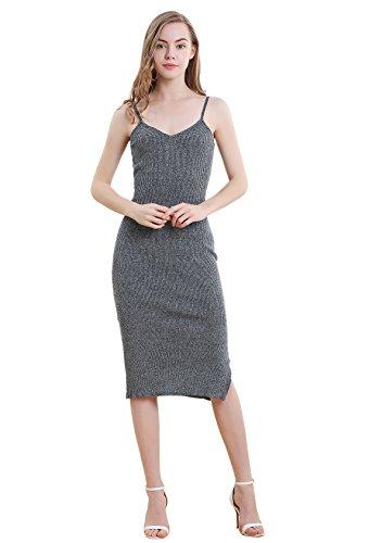 Vero Viva Women Sexy Sleeveless Side Slit Bodycon Dress Stretch Ribbed Midi Dress Grey