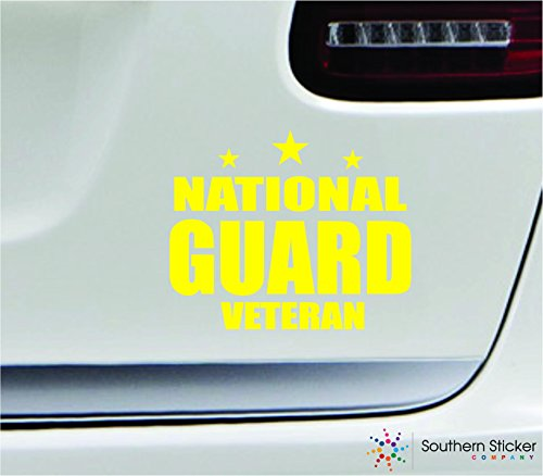 - National guard veteran 5.4x4.4 yellow soldier military war veteran america united states color sticker state decal vinyl - Made and Shipped in USA
