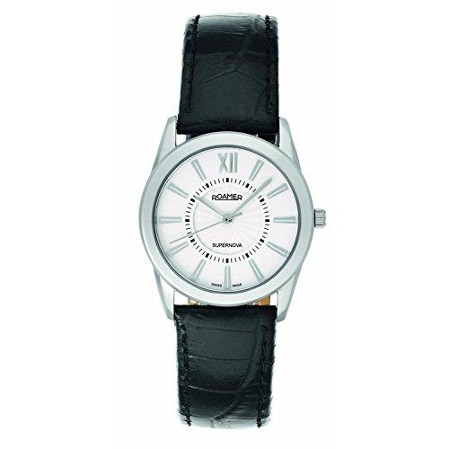 Roamer of Switzerland Women's 935835 41 23 09 Supernova White Dial Black Leather Watch