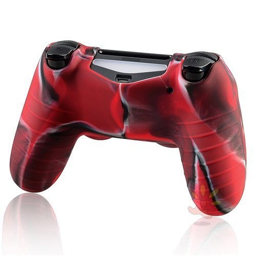 Pythons Protective Case for Sony Playstation 4 Ps4 Controller, Red and Black Camouflage Color