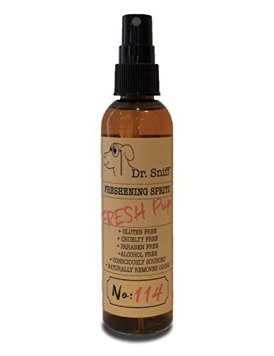 - Dr. Sniff Freshening Spritz (Fresh Pup)   Deodorizing Spray   Made with Organic Aloe, Organic Agave and Argan Oil   Free of Alcohol, Parabens, Toxins, Sulfates and Gluten   Eliminates Odors   4oz
