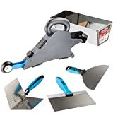 Delko Drywall Banjo Taping Tool with OX Professional Finishing Knife Set and Stainless Steel Mud Pan