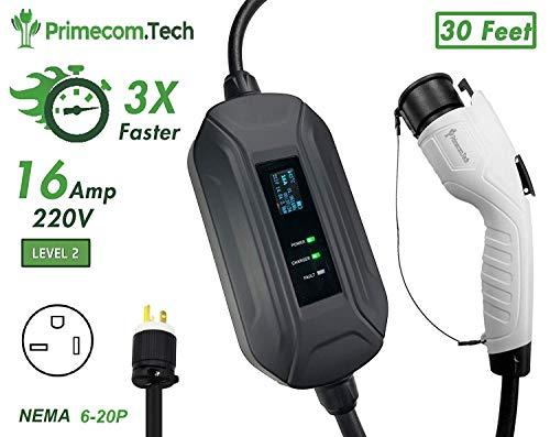 PRIMECOM Level 2 Electric Vehicle (EV) Charger (220V / 240Volt, 16Amp) Portable EVSE Smart Electric Car Charger, 30