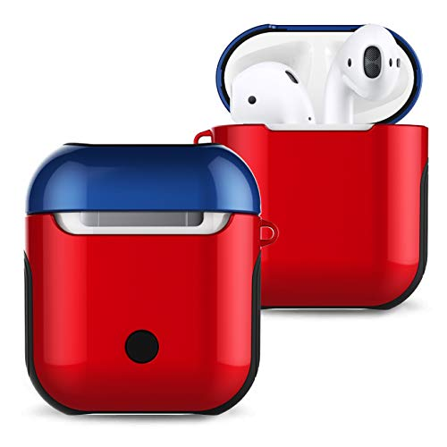 (Airpods Case Cover, Angimi AirPods Skin Compatible AirPods 2&1 Charger Case, Airpod Skins with Lanyard, Durable Silicone + Hard Cover Shockproof Air Pods Case for Apple Airpods Accessories (Red+Blue))
