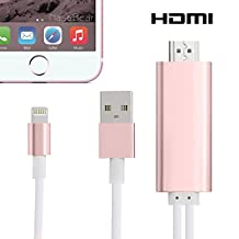 Newest Lightning to HDMI,GD2016 6.4 Ft Plug & Play 8-Pin Lightning MHL To HDMI Cable 1080P HDTV Adapter For iPhone 5 5S 6 6s plus and iPad(Lightning ports) RoseGolden