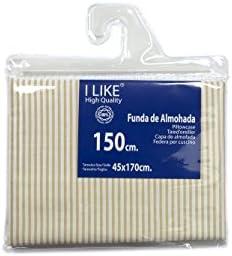 I LIKE® Funda DE Almohada Rayas Beige 100% ALGODÓN Cama 150 (45 X ...