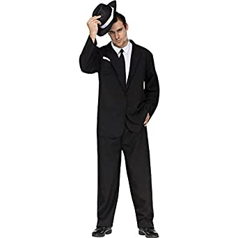 Amazon.com: FunWorld Men's Black Suit Complete, Black/White, One ...