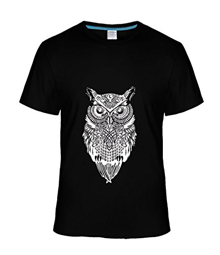 Gyrfalcons man's Casual Fashion Graphic Owl White cotton short sleeve t-shirt black