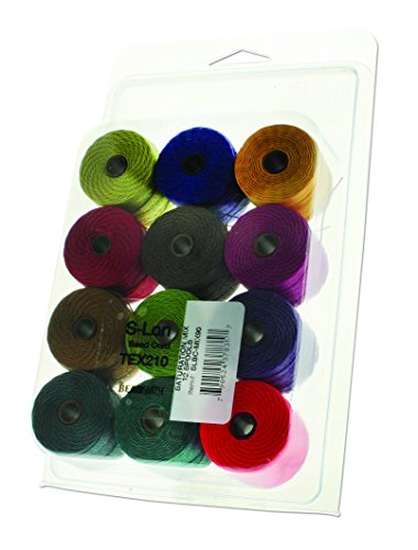 12 Super-lon #18 Cord Mix Ideal for Stringing Beading Crochet and Micro-Macrame Jewelry Compatible with Kumihimo Projects S-lon Saturation Mix
