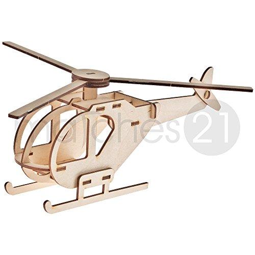 Helikopter Hubschrauber 3D Steckbausatz Modell für Kinder aus Holz Bausatz Werkset Bastelset geeignet ab 7 Jahren