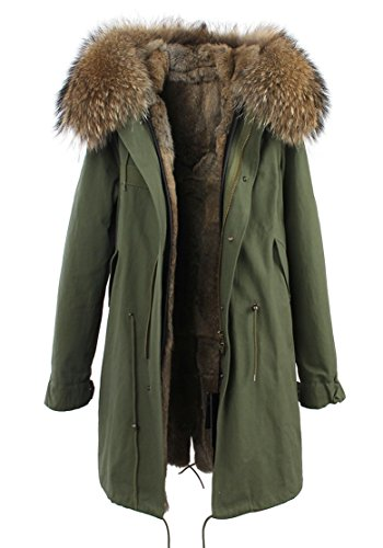 Melody Women's Army Green Large Raccoon Fur Collar Hooded Long Coat Parkas Outwear Rabbit Fur Lining Winter Jacket (Large, Natural)