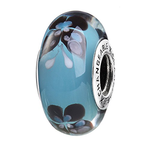 Murano Glass Charms Beads for Bracelets, Turquoise Blue, 925 Sterling Silver (Fairy Butterfly)