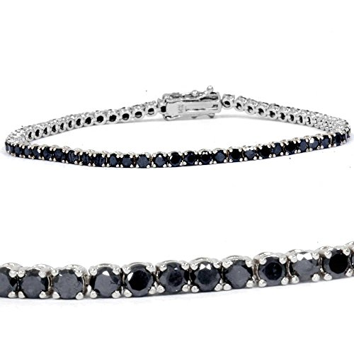3ct Black Diamond Tennis Bracelet 14K White Gold 7