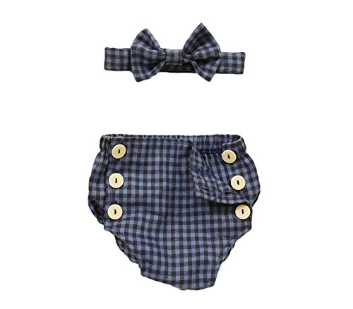 ZoharMall Newborn Baby Boy Birthday Outfit Plaid Blue Diaper Cover With Snap Buttons Bow Tie and Bloomers Set (Personalized Diaper Cover)