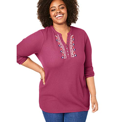 (Woman Within Women's Plus Size Embroidered Thermal Knit V-Neck Henley - Deep Cranberry Folk Embroiderhy, 2X)