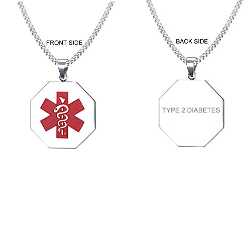 - VNOX Type 2 Diabetes Medical Alert ID Stainless Steel Hexagonal Geometry Pendant Necklace for Men Women,24