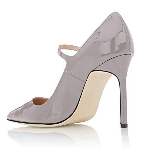 Zapato Toe con Mary de de Bombas tacón Correa Tobillo para Gris señaló Sammitop de Jane Mujer de RCwqR05