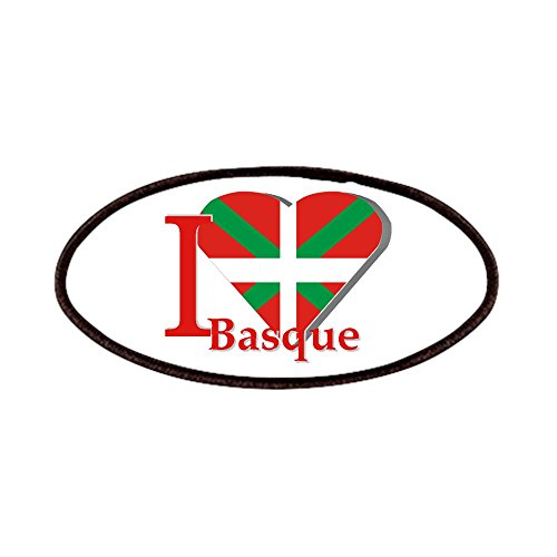 fan products of CafePress - I Love Basque Patches - Patch, 4x2in Printed Novelty Applique Patch