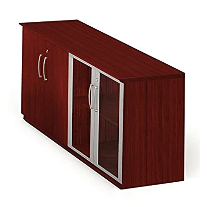 Mayline MVLCLMH Medina Low Wall Cabinet With 2 Wood And 2 Glass Doors,  Mahogany Laminate