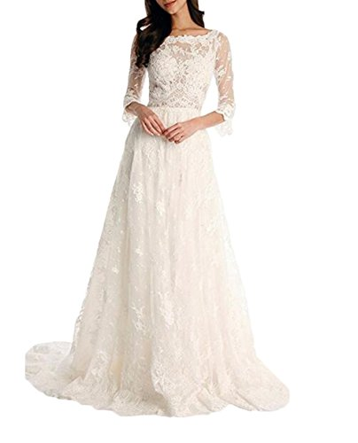 Tsbridal Lace Wedding Dress 3/4 Sleeves Bohemian Bridal DressesXC043-White8