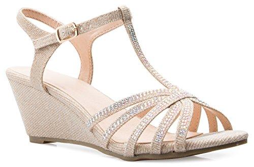 OLIVIA K Women's Open Toe Glitter Shimmer T-strap Cage Low Heels Wedge Sandal,Gold Glitter,8.5 B(M) US