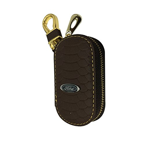 New 1pcs Brown Leather Oval Shaped With Gold Color Clasp Car Key Wallet Zipper Case Keychain Coin Holder Metal Hook Bag Collection For Ford Car Vehicle Auto Lover