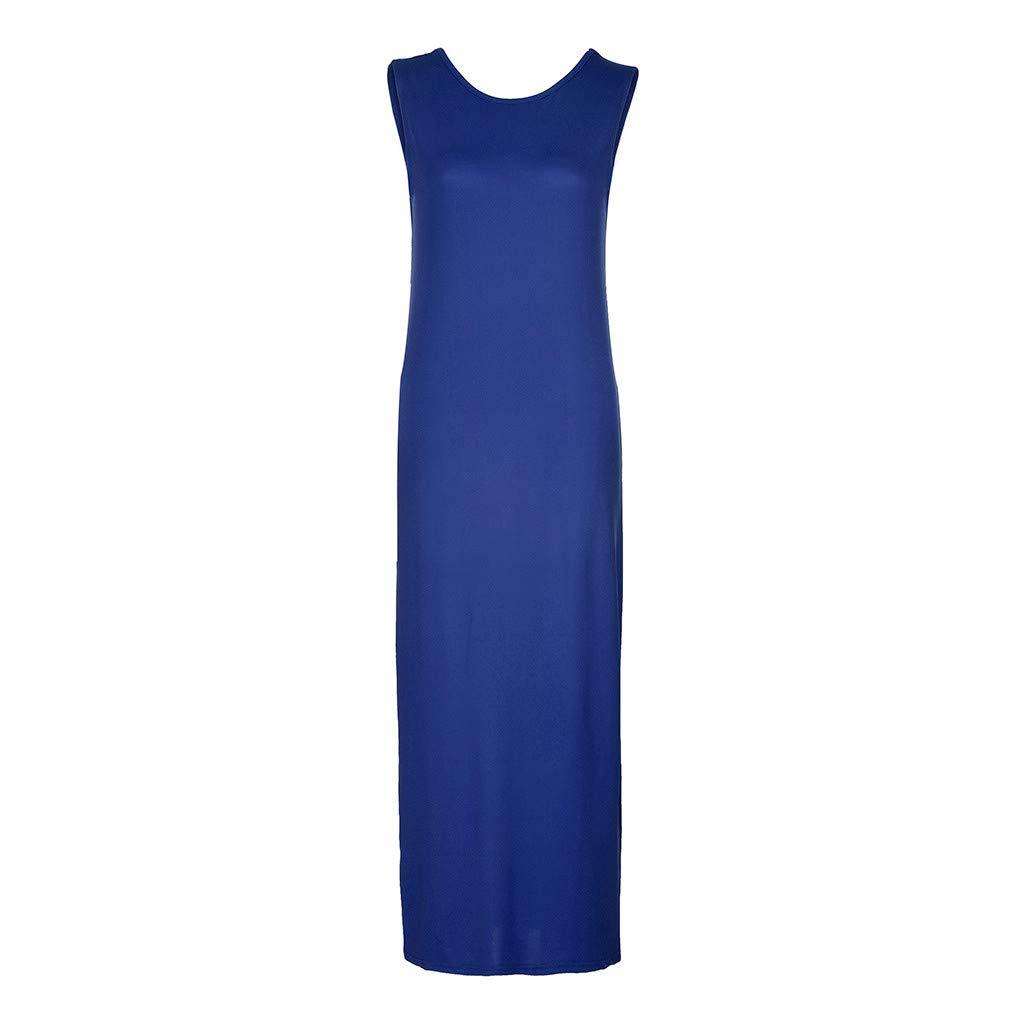 Twinsmall Maternity Dress, Women's Ruched Boho Sleeveless Maternity Pregnant Dress (M, Blue) by Twinsmall (Image #2)
