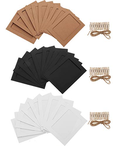 Stormshopping 30 PCS Paper Photo Frames, DIY Kraft Paper Picture Frames with Clothespin Hanging Wall Decoration with Clips and Ropes for 5x7in Pictures - 3 Colors