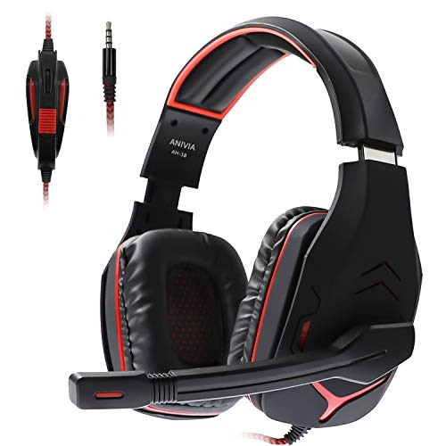 AH18 Gaming headset for Xbox One/Playstation4, Noise Cancelling Gaming Headset Over Ear Headphones with Mic, Bass Surround Soft Memory Earmuffs Compatible with PC PS4 Mac Laptop (Black Red)