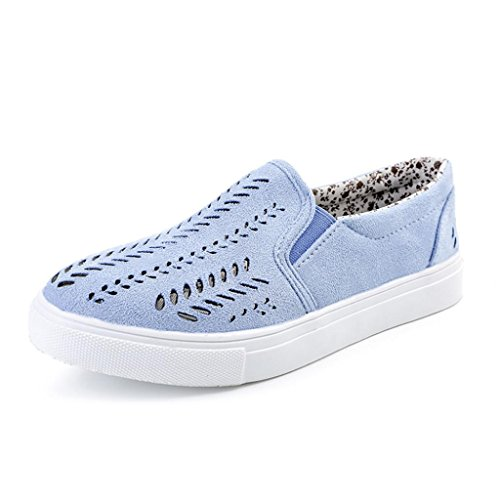 WuyiMC Womens Shoes Women Shoes, Ladies Summer Breathable Travel Shoes Hollow Out Shoes Round Toe Platform Flat Slip On Casual Shoes (Blue, 6) by WuyiMC Womens Shoes