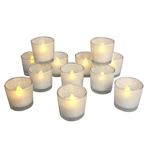 - Silver Votive Candle Holders,Set of 12 Glitter Glass Tealight Candle Holder and 12 White Tealight,Ideal for Parties, Wedding, Special Events, Aromatherapy and Everyday Use(2