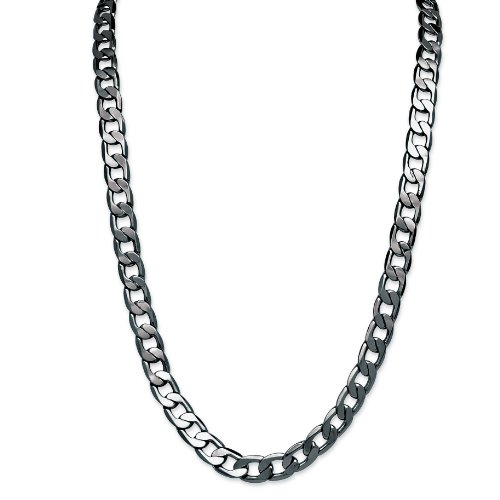 PalmBeach Jewelry Men's Black Rhodium-Plated Curb-Link 12 mm Necklace Chain 30""