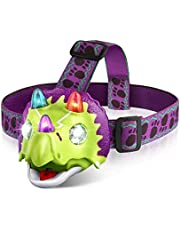 Triceratops LED Headlamp - Dinosaur Headlamp for Kids Camping Accessories, Dinosaur Toy Head Lamp Flashlight with 4 Mode Lighting, Ideal Gift for Birthday, Thanksgiving, Christmas,New Year