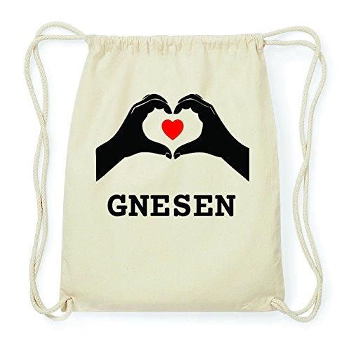 JOllify GNESEN Hipster Turnbeutel Tasche Rucksack aus Baumwolle - Farbe: natur Design: Hände Herz xnFk8Ruq