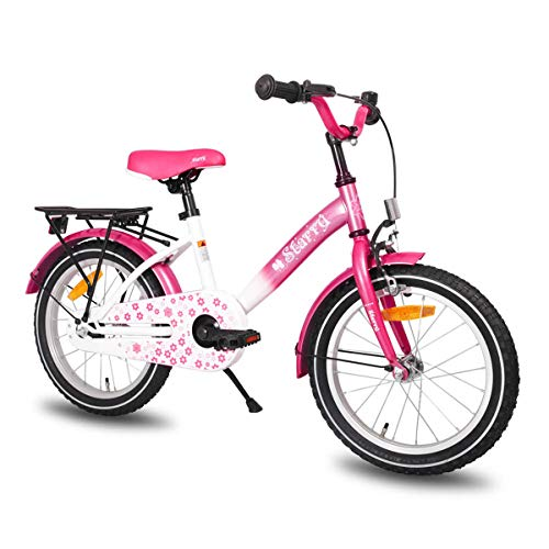 (JOYSTAR Kids Bike with Hand Brake for 4 5 6 Years Girls,16 Inch Toddler Bike with Kickstand for Child, Pink Children Bicycle)