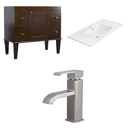 "Jade Bath JB-8187 36"" W x 18"" D Birch Wood-Veneer Vanity Set with Single Hole CUPC Faucet, Antique Walnut chic"