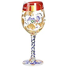 "Lolita Glassware from Enesco Love My Dog Wine Glass, 9"", Multicolor"