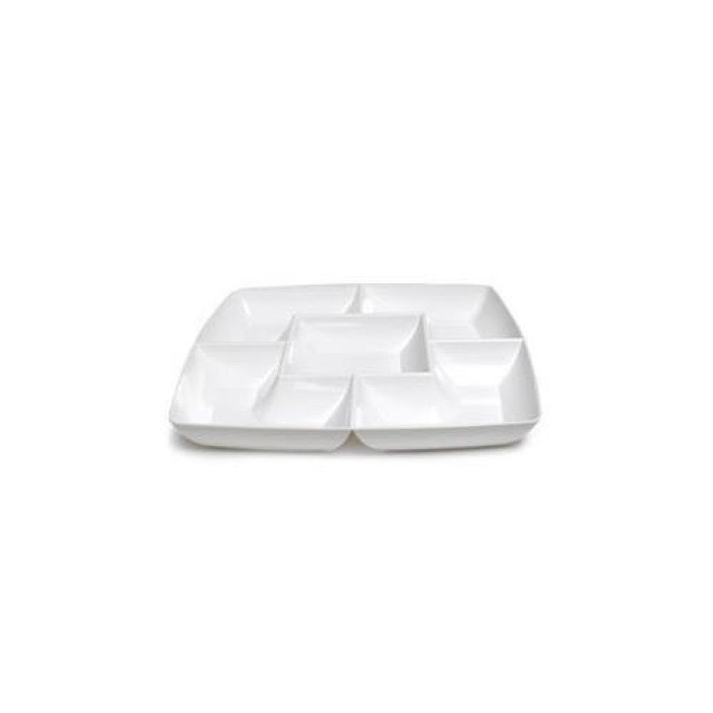 Maryland Plastics Clear Square Plastic Compartment Serving Tray 12-Inch/…