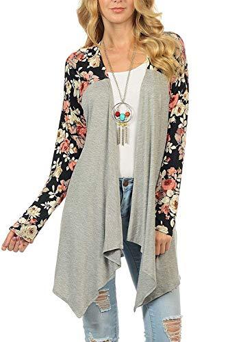couleur capuche longues Femme manches Gris Uk Zhrui Taille avec floral Top à Xl longues manches à Gris imprimé XL à cn qAwtO7X