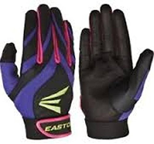 Away Adult Batting Glove - Easton Synergy II Fastpitch Adult Batting Gloves Large Purple/Pink/Green/Black